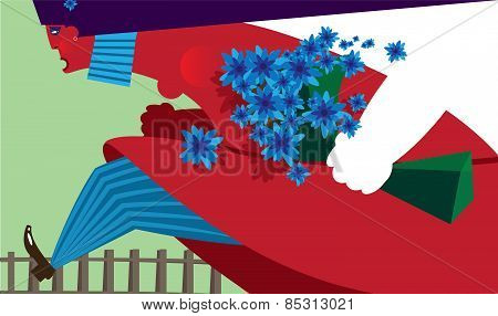 Cartoon female with flowers