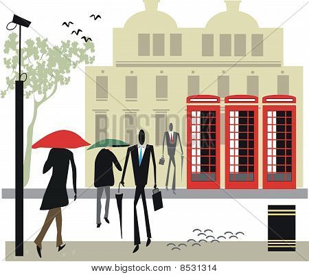 London telephone booth illustration