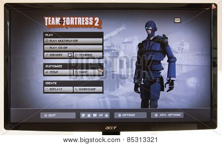 Depew, OK, USA - March 15, 2015: Blu MvM Spy Robot on starting screen of Team Fortress 2, a team-based first-person shooter multiplayer video game by Valve Corporation, released on October 10, 2007.
