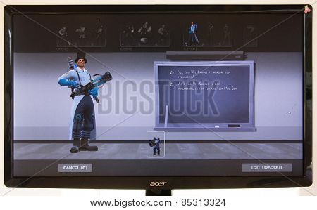 Depew, OK, USA - March 15, 2015: Blue Medic on class selection screen of Team Fortress 2, a team-based first-person shooter multiplayer video game by Valve Corporation, released on October 10, 2007.