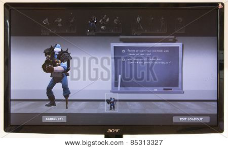 Depew, OK, USA - March 15, 2015: Blue Demo on class selection screen of Team Fortress 2, a team-based first-person shooter multiplayer video game by Valve Corporation, released on October 10, 2007.