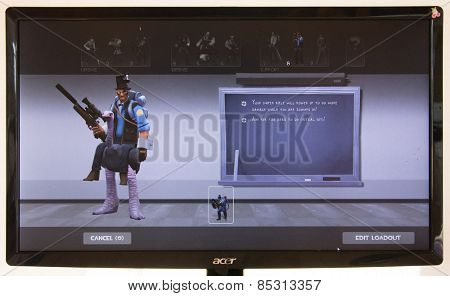 Depew, OK, USA - March 15, 2015: Blue Sniper on class selection screen of Team Fortress 2, a team-based first-person shooter multiplayer video game by Valve Corporation, released on October 10, 2007.