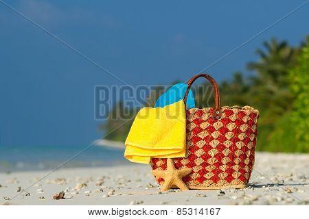 Summer Beach Bag With Shell, Towel On Sandy Beach