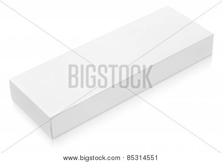 Flat Long Cardboard Box Template For Chocolate On White