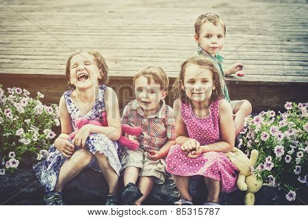 Children Eating Easter Candy Outside - Retro