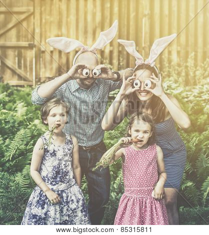 Funny Family Easter Portrait - Retro
