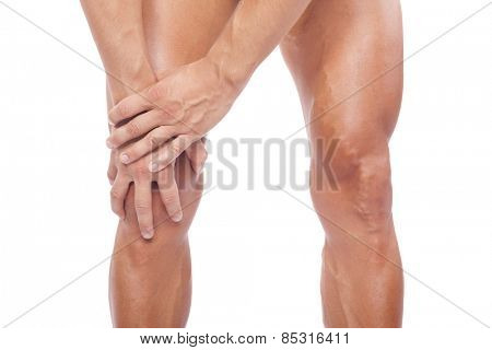 Man with knee pain, isolated on white background