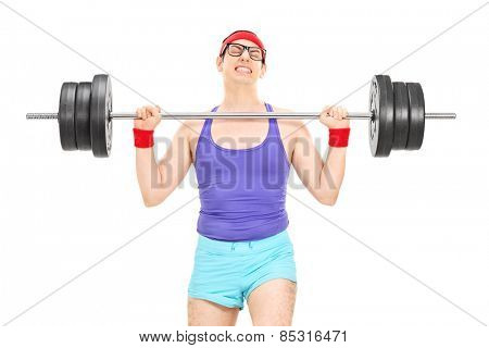 Nerdy athlete attempting to lift a weight isolated on white background
