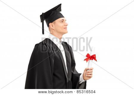 Proud college graduate holding a diploma isolated on white background