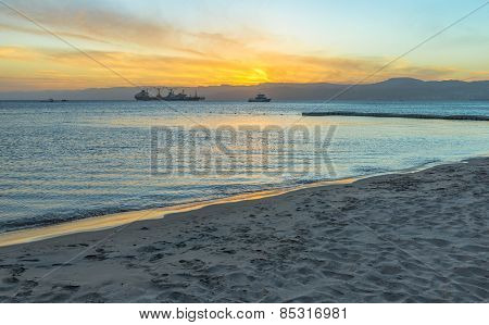 Gulf Of Aqaba In Jordan At Sunset