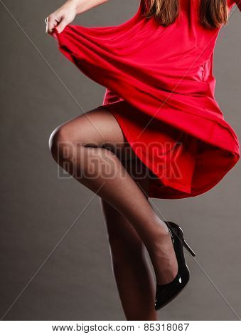Woman Part Body In Red Dress.