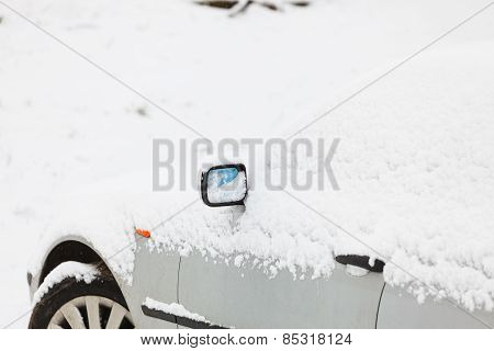 Car Covered In Snow, Winter Time
