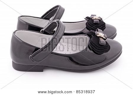 Beautiful Black Shoes For Kids (clipping Path)