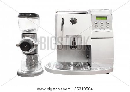 Professional coffee machine isolated under the white background