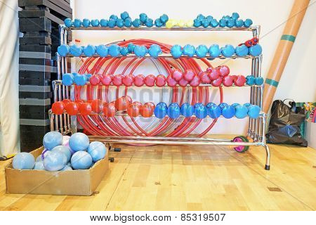 Colored dumbbells in a rack at the gym