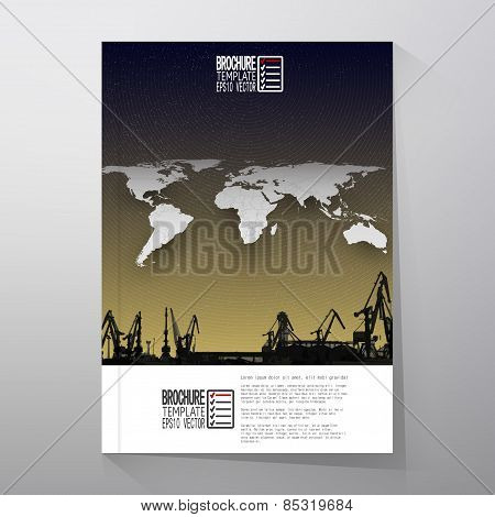 Shipyard, harbor skyline, night design, world map vector. Brochure, flyer or report for business, te