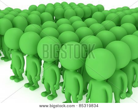 A Large Groups Of People Stand On White
