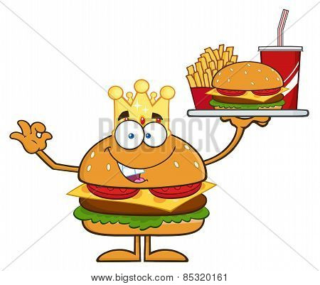 King Hamburger Cartoon Character Holding A Platter With Burger, French Fries And A Soda