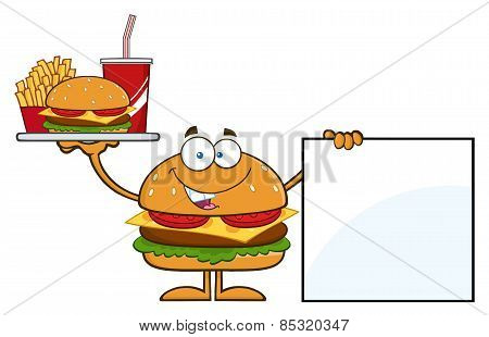 Hamburger Character Holding A Platter With Burger, French Fries And Soda By Blank Sign