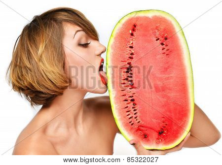 Pretty Woman Hold In Hands And Lick Fresh Red Watermelon