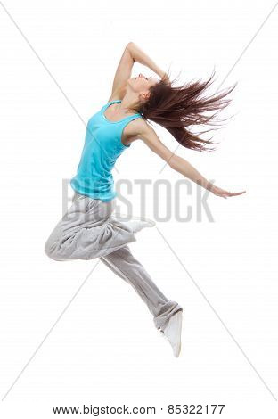 New Pretty Modern Slim Hip-hop Style Dancer Teenage Girl Jumping Dancing