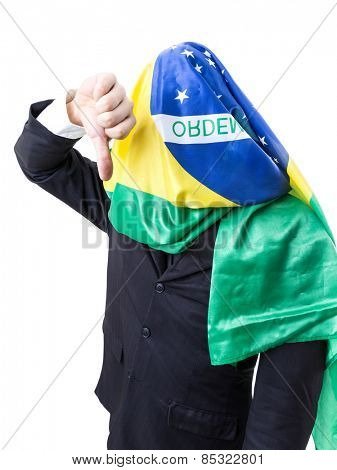 Businessman on the Brazilian flag in his head on white background