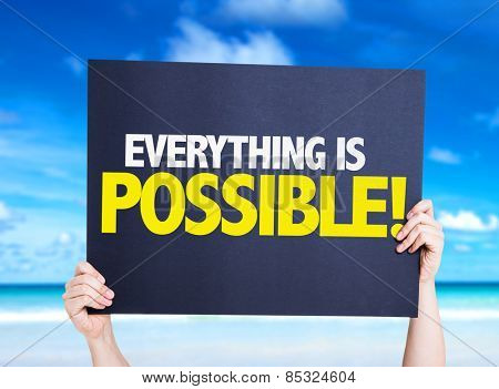 Everything is Possible card with nature background