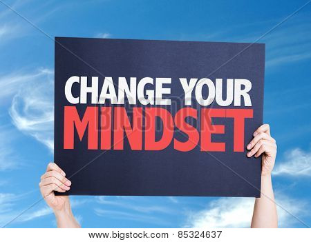 Change Your Mindset card with sky background