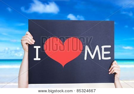I Love Me card with beach background