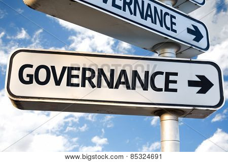Governance direction sign on sky background