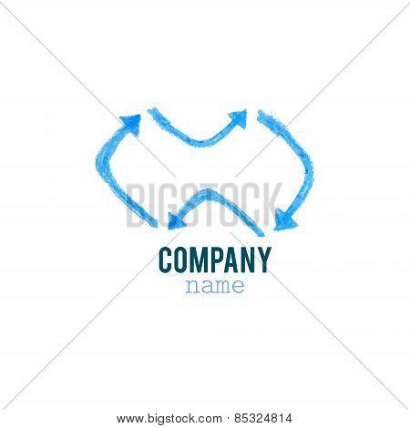 Blue arrows infinity logo
