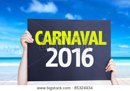 Carnaval 2016 card with beach background