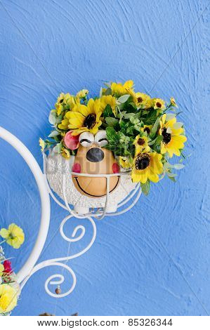 Beautiful Bouquet Of Bright Wildflowers In Flowerpot