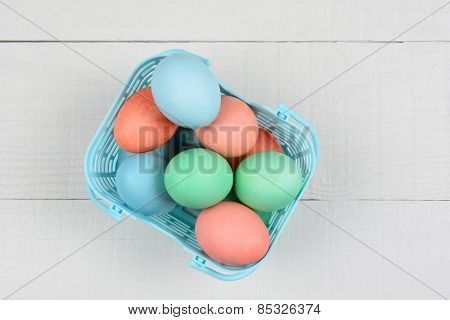 Pastel Easter eggs in a plastic basket on a white rustic wood kitchen table. High angle view with copy space.