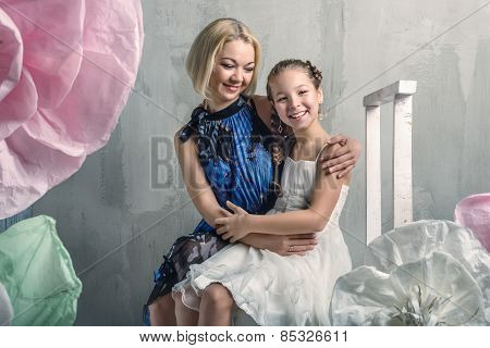 Girl and mother