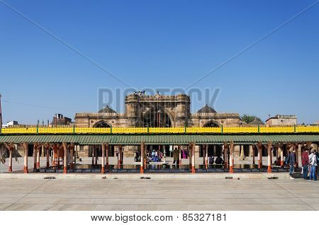 Ahmedabad, India - December 28, 2014: Muslim People At Jama Masjid