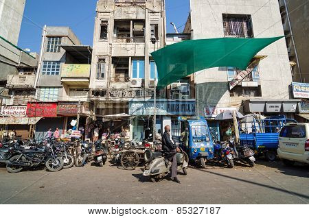 Ahmedabad, India - December 28, 2014: Indian People On Street Of The Ahmedabad City