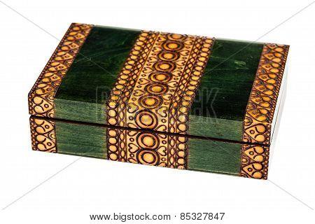 Wooden Inlay Green Casket