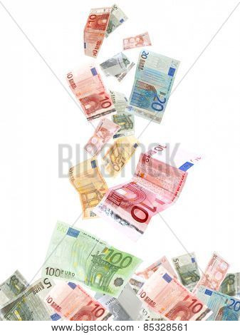 Flying Euro banknotes isolated on white
