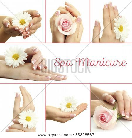 Hands with french manicure and flower in collage