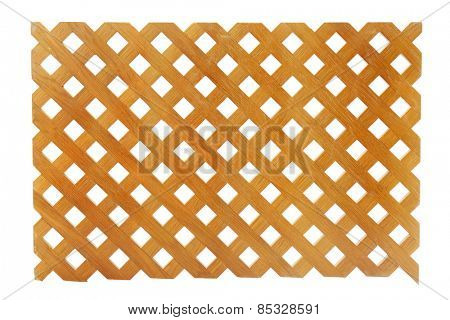 Wooden lattice on white background