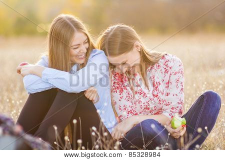 Fun and happiness outside , bonding friends concept