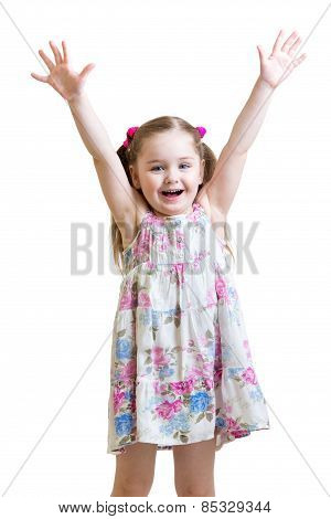child with hands up isolated on white
