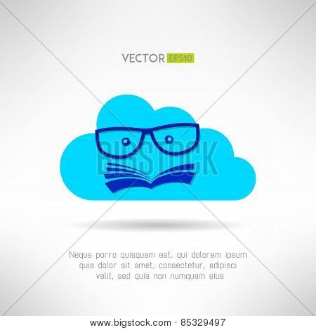 Cloud library sign with book face inside. Vector illustration