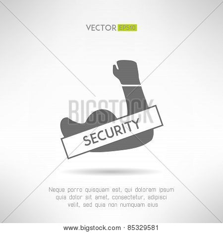 Arm with strong biceps. security idea. T-shirt print. Vector illustration