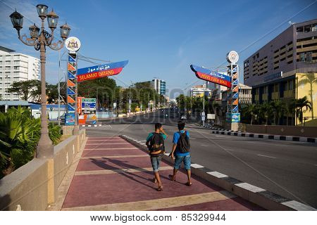 MALACCA, MALAYSIA - JANUARY 29, 2015: On the city streets of Malacca in the early morning. Malacca has been listed as a UNESCO World Heritage Site 2008.