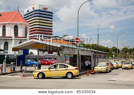 SINGAPORE - JANUARY 28, 2015: Johore express terminal is in Queen Street Bus Terminal, is oldest a bus terminal in Singapore. From this terminal sends taxis and buses in Johor Bahru, Malaysia.