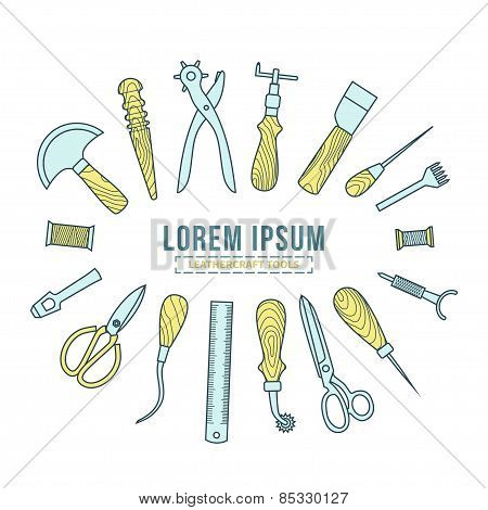Leathercraft tools vector illustration