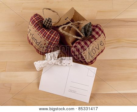 Beautiful composition with invitation cards, love and friendship. Work executed in vintage style.