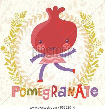 Sweet pomegranate in funny cartoon style. Healthy concept card in vector. Stunning tasty background in bright colors